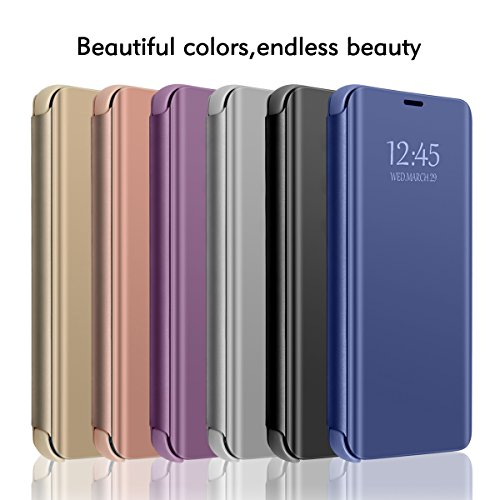 Huawei Y6 Prime 2018/Huawei Y7 Prime 2018 Mirror Case Metal Flip Stand  Phone Cover Full Protective Case (Huawei Y6 Prime 2018, 1)
