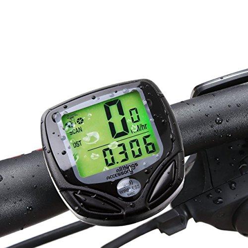 AllThingsAccessory® Neu 2016 Schnurloser Wasserdichter LCD Fahrradcomputer Tacho Geschwindigkeitsmesser Kilometerzähler - Multifunktional: Geschwindigkeitsvergleich & Durchschnittliche Geschwindigkeit & Maximale Geschwindigkeit & Relativgeschwindigkeit & Fahrzeit & Tagesdistanz & Gesamtdistanz (mit neuen, verbesserten Funktionen)