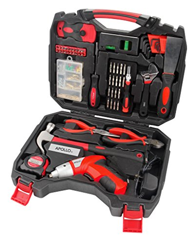Apollo Tools DT4929 Household Tool Kit with 48V Cordless Screwdriver, 160 Piece (160 Piece Tool)