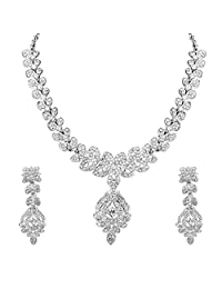 Indian Necklace Jewelry Set Bollywood Fashion Bridal Fascinating Rhodium AD Long For Women