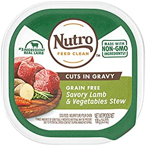 NUTRO Adult High Protein Natural Grain Free Wet Dog Food Cuts in Gravy Savory Lamb & Vegetables Stew, (24) 3.5 oz. Trays