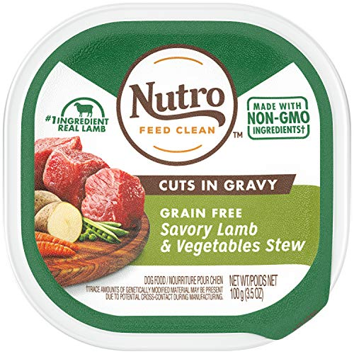 NUTRO Grain Free Natural Wet Dog Food Cuts in Gravy Savory Lamb & Vegetables Stew, (24) 3.5 oz. Trays (Best Gravy For Lamb)