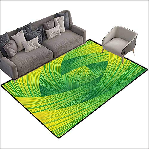 """Printed Mats for Children Bedroom Abstract Home Decor Collection,Fresh Swirl Creativity Striped Artistic Curvy Waves Trendy Illustration Image,Green Yellow 64""""x 96"""",Natural Fiber Area Rug from dsdsgog"""