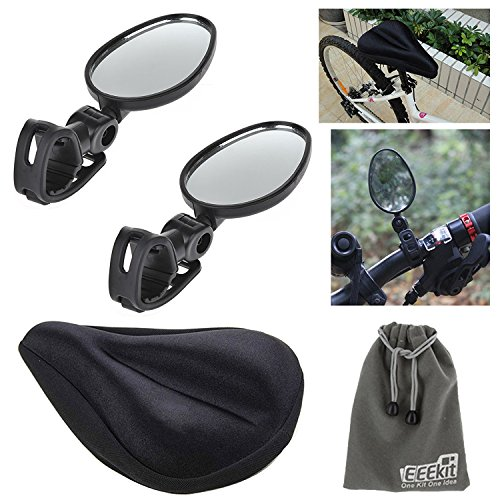 EEEKit Mini Rotaty Rearview Handlebar Glass Mirror and Professional Road Saddle Pad Cushion Cover Gel Silicone Seat, 2 in 1 Starter Kit for Mountain Bike Bicycle Riding ()