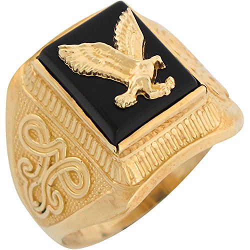 14k Yellow Gold Onyx Patriotic Flying Eagle Mens Ring (Gold Onyx Eagle Ladies Ring)