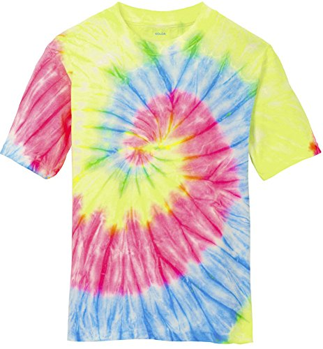 Joe's USA Koloa Surf Co.(tm) Colorful Tie-Dye T-Shirt,XL-Neon Rainbow ()