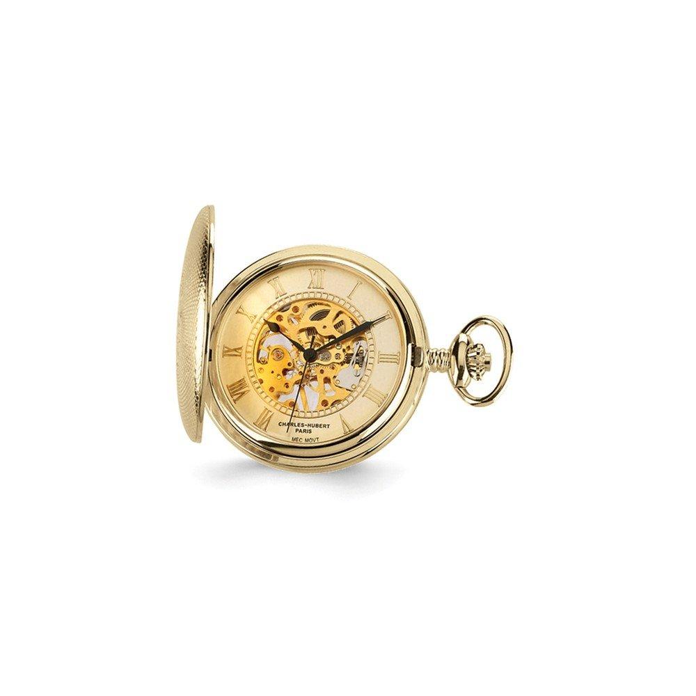 Jewelry Best Seller Charles Hubert Gold Finish Brass Skeleton Pocket Watch
