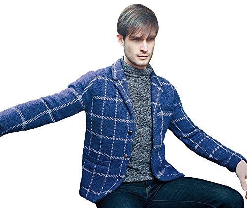 REVOLUTION NOW Men's Knitted Window Pane Lambswool Jacket Sweater Azure Blue