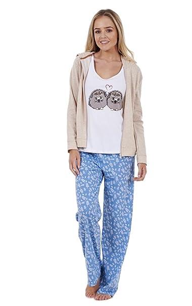 Ex Famous Store - Pijama De Señora De 3 Piezas Con Chaqueta De Capucha Y Camiseta