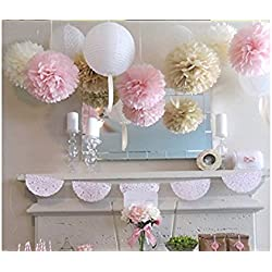 OH So Pretty in Pink Delicate Pink Decorations Tissue Paper Pom Pom Flowers & Lanterns for Wedding, Shower & Party Decorations in White, Pink and Champagne (Pack of 9 Pcs)