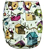 "Kawaii Baby One Size Organic Bamboo Terry Cloth Diaper with 2 Bamboo Inserts ""Bird House"""