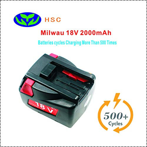 (2.0Ah 18650 Battery pack Mil18C Lithium ion 18V battery Replacement Milwau 48-11-1830 4932352002 4932399512 MV18B V18 Battery)
