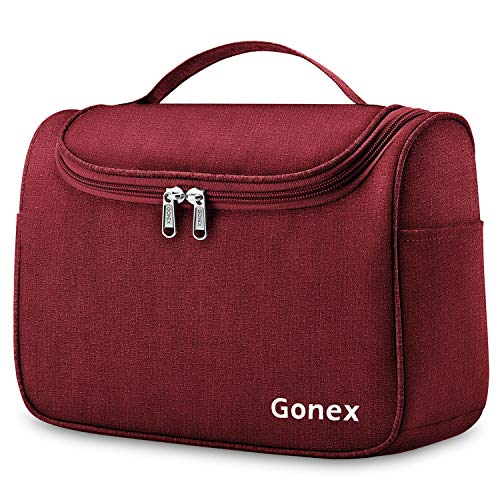 Gonex Hanging Travel Toiletry Bag for Women Men Family Cosmetics Makeup Bag Organizer Dopp Kit Pouch for Bathroom Water…
