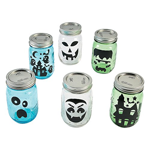[Halloween Mason Jar Silhouette Decoration Decals - Ghost Monster Pumpkin Haunted House and More] (Haunted Ghost Costume)