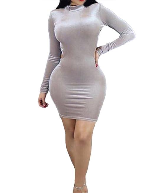 Huixin Mujer Vestidos De Fiesta Cortos Elegantes Terciopelo Apretados Lápiz Vestidos De Coctel Manga Larga Cuello Alto Espalda Descubierta Bodycon Vestido ...