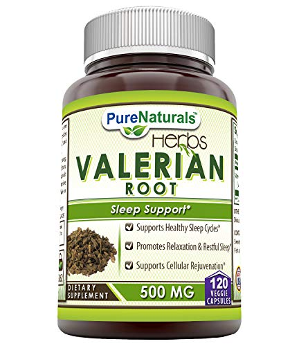 Pure Naturals Valerian Root 500 Mg, 120 Veggie Capsules- Supports Healthy Sleep Cycles* Promotes Relaxation & Restful Sleep* Supports Cellular Rejuvenation* ()