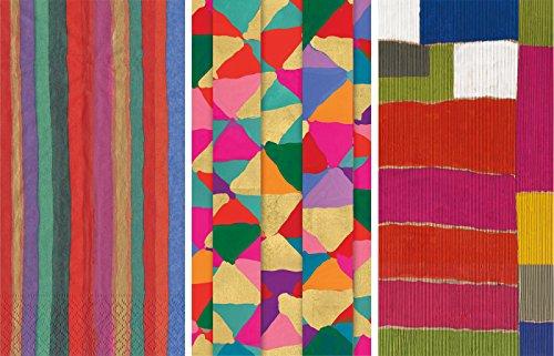 Caspari Guest Towels Collection (Balthazar Stripe, Shimmer, Papiers Plisse') Jewel Tone Stripes