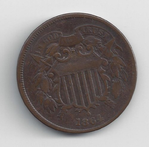 1864 No Mint Mark Circulated Two Cent Piece Civil War Era Two-Cent Seller Good