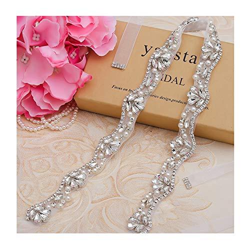 (Yanstar Hand Silver Rhinestone Crystal Wedding Bridal Belts With White Organza For Bridal Bridesmaid Gowns)