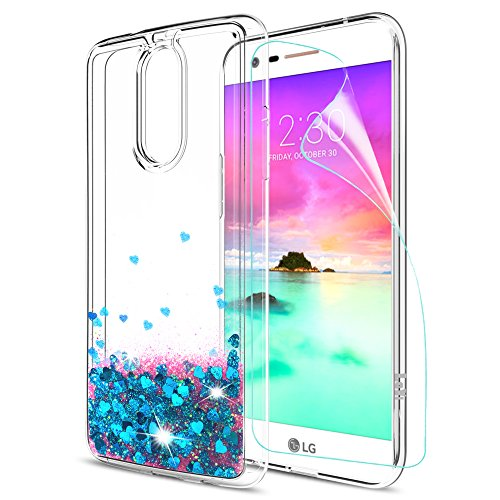 LG K20 V Case,LG K20 Plus Case,LG Harmony Case with HD Screen Protector for LeYi Liquid Glitter Sparkle Cute Girls Women Clear TPU Protective Case for LG K10 2017 ZX Blue