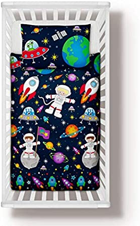 90x120 cm Pillowcase to fit Cot//Cot Bed//Toddler Bed Girls Boys 100/% Cotton 35x47 Space Ships Planets Nursery Bedding Set Duvet Cover