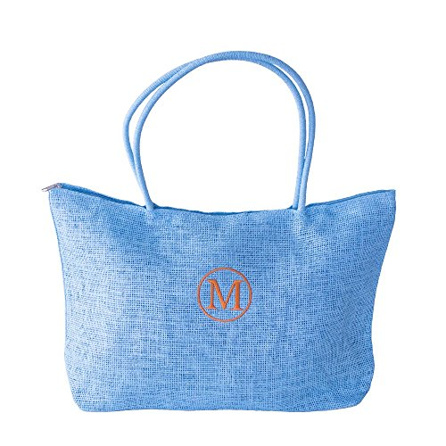 Monogrammed Burlap Tote Bag with Zippered Top and Fully Lined Inside (Aqua) by 6th + Style