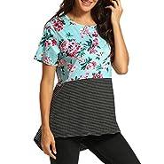 BingYELH tops Women Summer Casual Floral Printing Stripe Splicing T-Shirt Short Sleeve Crew Neck Tops Blouse