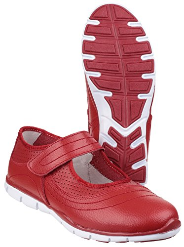 Fleet And Foster Womens/Ladies Merlot Velcro Summer Shoes rojo