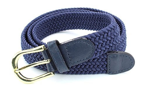 Gold Braided Leather - Women's Braided Elastic Woven Stretch Belt Solid Color Gold Buckle and Leather Tip (Navy-M)
