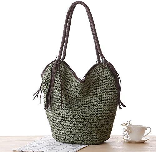 Women Fashion Tassel Straw Handbags Large Summer Beach Shoulder Crossbody Bags