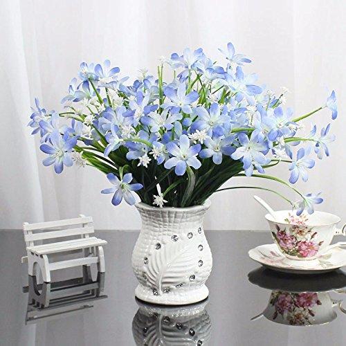 GBHNJ Azul Decoración Emulation Orchid Flor Artificial Pu Jarrón