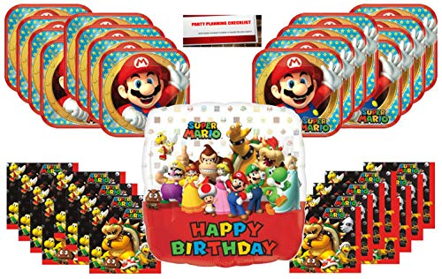 Super Mario Brothers Birthday Party Supplies Bundle Pack for 16 with 17 Inch Balloon (Plus Party Planning Checklist by Mikes Super Store) -