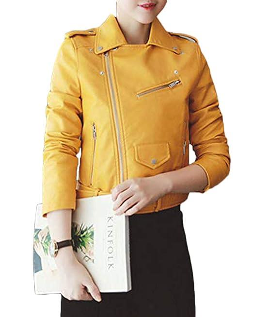 0fc2b9e81a4 Quge Mujer Imitación Cuero Chaquetas Cazadora con Cremallera Slim PU Abrigo  Corto De Moto Outwear  Amazon.es  Ropa y accesorios