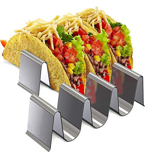 Taco Holder Stainless Steel Tray - Set of 2 Taco Stand, Ideal for Taco Tuesday & Kids Party Oven Baking, Dishwasher and Grill Safe - Tortilla Rack, Taco Stand Up Plate Truck Style, Restaurant and Home