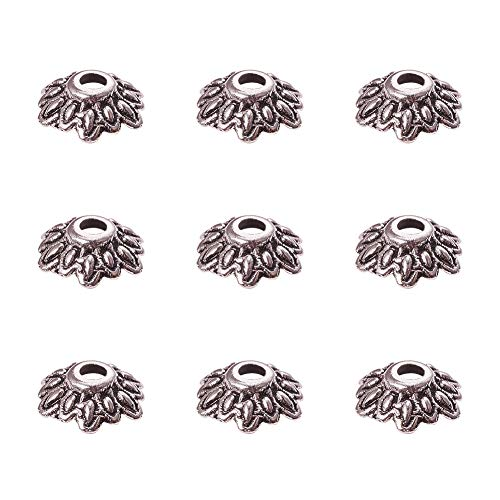 Wholesale Bead Caps - PH PandaHall 200PCS 8mm Antique Silver Tibetan Style Flower Bead Caps for Jewelry Making