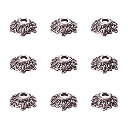 Pandahall 200PCS 8mm Antique Silver Tibetan Style Flower Bead Caps