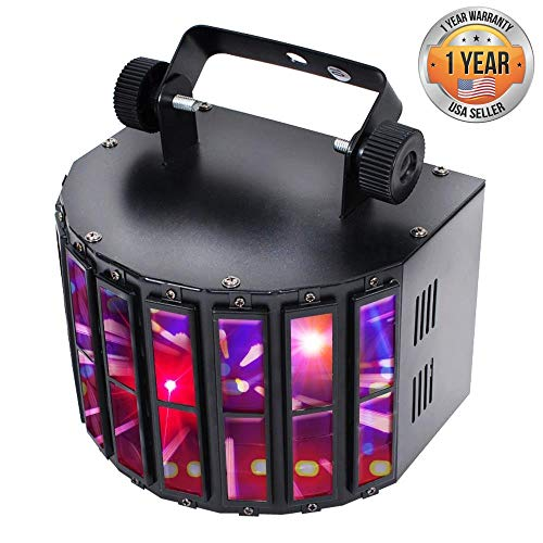 Party Projector DJ Dance Light - Tabletop or Ceiling Mountable Rave Party Stage lights w/ Color RGBWP LED Bulb, Flashing Disco Strobe lights, Beat Sync Motion Effect and DMX Control - Pyle PDJLT20]()