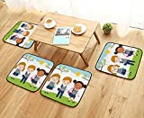 UHOO2018 Chair Cushions Vector of Three Kids in School Uniform go to School Non Slip Comfortable W25.5 x L25.5/4PCS Set