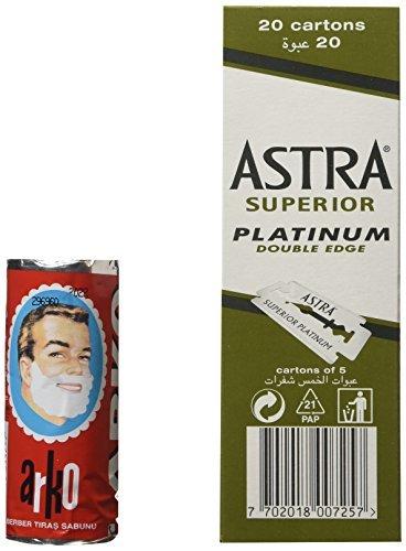 100 Astra Superior Platinum Double Edge Safety Razor Blades and Arko Shaving Cream Soap Stick Astra-Evyap AS-100-ASTRA-E13