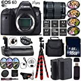 Canon EOS 6D DSLR Camera with 24-105mm is STM Lens + Professional Battery Grip + 4PC Macro Filter Kit + LED Kit + Extra Battery + Case + Wrist Strap + Tripod + Card Reader