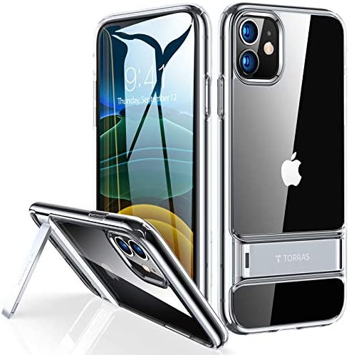 TORRAS MoonClimber Designed for iPhone 11 Case, Never Yellow [Military Grade Drop Protective] Slim Shockproof with Kickstand Cases for iPhone 11 6.1 Inch - Clear