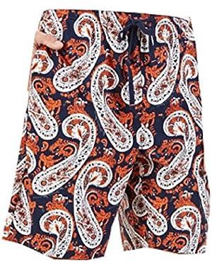 Men's Knit Paisley-Print Pajama Shorts, Navy Multi, Medium