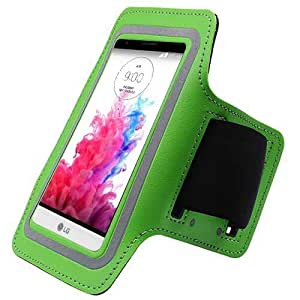 Green ArmBand Workout Case Cover For LG G3 Stylus/D690 with Free Pouch