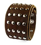 D'SHARK 1.8'' Brown Studded Punk Rock Biker Leather Bangle Snap Bracelet Cuff Wristband for Unisex