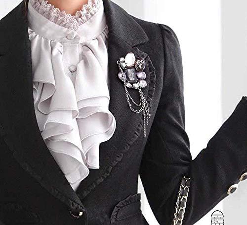 Mode Chemise Fit Col Blouse Femme Casual Dame Manches Blouse Affaires grau Elgante Dame Office Chemisier Volants Battercake Debout Slim avec Silber Tops Festive Longues Automne Unicolore Printemps Haut 0CBRgw