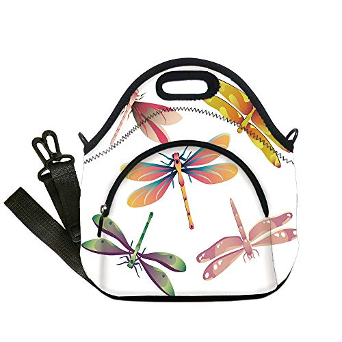 Insulated Lunch Bag,Neoprene Lunch Tote Bags,Dragonfly,Five Spiritual Bugs in Modern Abstract Patterned Beauty Elegance Artsy Motif Decorative,Multicolor,for Adults and children