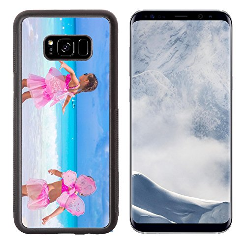 Luxlady Samsung Galaxy S8 Plus S8+ Aluminum Backplate Bumper Snap Case IMAGE ID: 34567033 Little girls with butterfly wings have fun beach summer (Butterfly Costume Target)