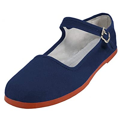 Easy USA Women's Cotton Mary Jane Shoes Ballerina Ballet Flats Shoes (5, 114 Navy)   Flats