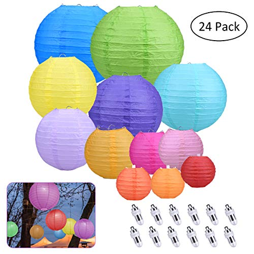 YoungRich 12 Pcs Colorful Paper Lantern Decorative Round Ball Decoration Accessories Painting Lantern 12 Pcs LED Bulb Warm White for Party Wedding Celebration Festival DIY 25/20/15/10cm Diameter