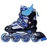 URUOI Unisex Adjustable Glittery Inline Roller Skates Blue Large